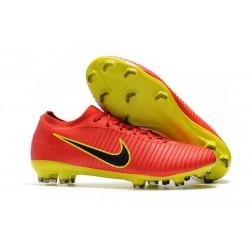 Chaussures Nouveaux Nike Mercurial Vapor Flyknit Ultra FG - Rouge Jaune