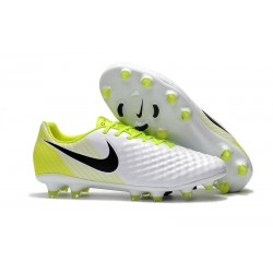 Nike Magista Opus 2 FG Crampons de Football - Blanc Jaune