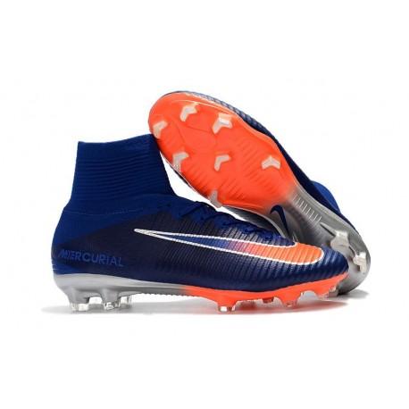 Chaussure Nouvelles Nike Mercurial Superfly 5 FG - Bleu Orange