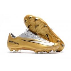Nike Mercurial Vapor XI FG ACC Chaussures - Or Blanc