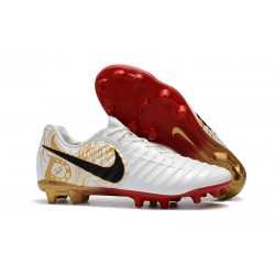 Chaussures Nouvel Nike Tiempo Legend VII FG ACC - Blanc Noir Rouge