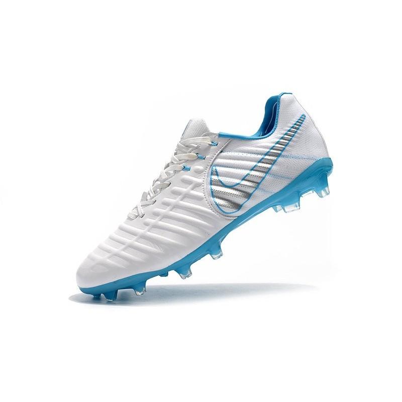 51e6faf4e Chaussures Nouvel Nike Tiempo Legend VII FG ACC - Blanc Bleu Zoom.  Précédent. Suivant