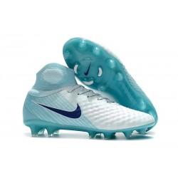 Nike Magista Obra II DF FG Crampon de Football - Blanc Bleu