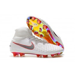 Nike Magista Obra II DF FG Crampon de Football - Blanc Rouge