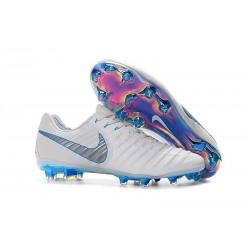 Nike Tiempo Legend 7 FG Crampons de Football Homme - Blanc Bleu