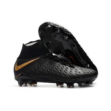 Crampons de Foot Nike HyperVenom Phantom III DF FG - Noir Or