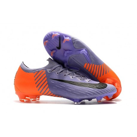 Nike Mercurial Vapor 12 Elite FG Chaussure de Football - Violet Orange Noir