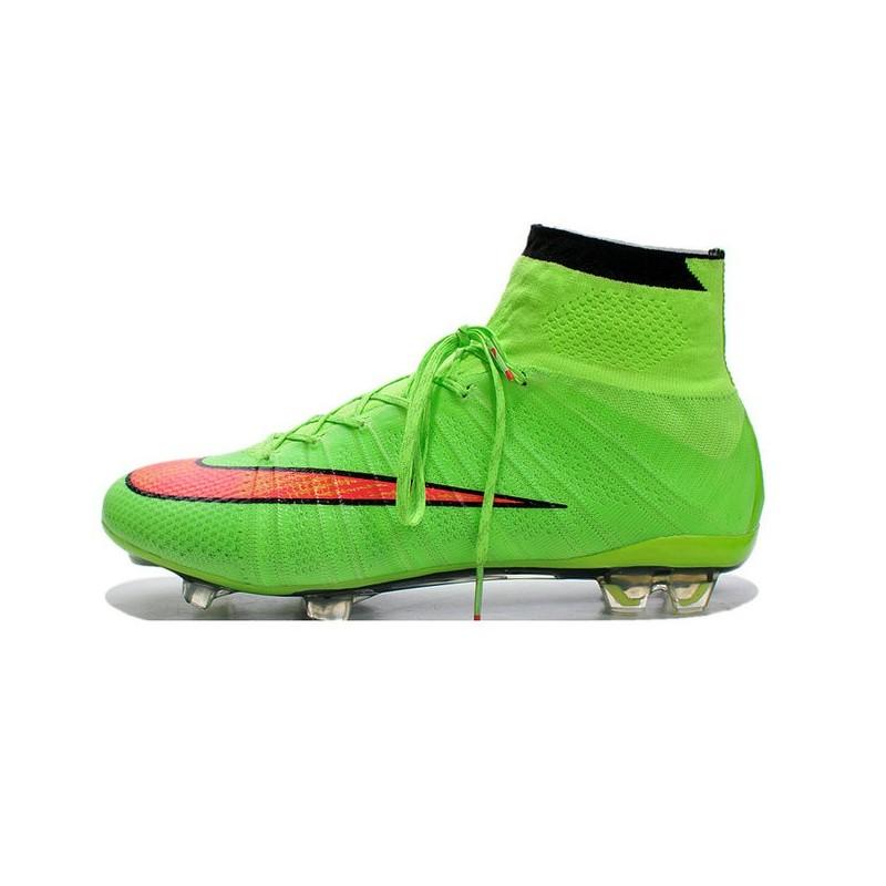 Crampons de Foot Ronaldo Nike Mercurial Superfly FG ACC Vert Rouge 091147bc18045
