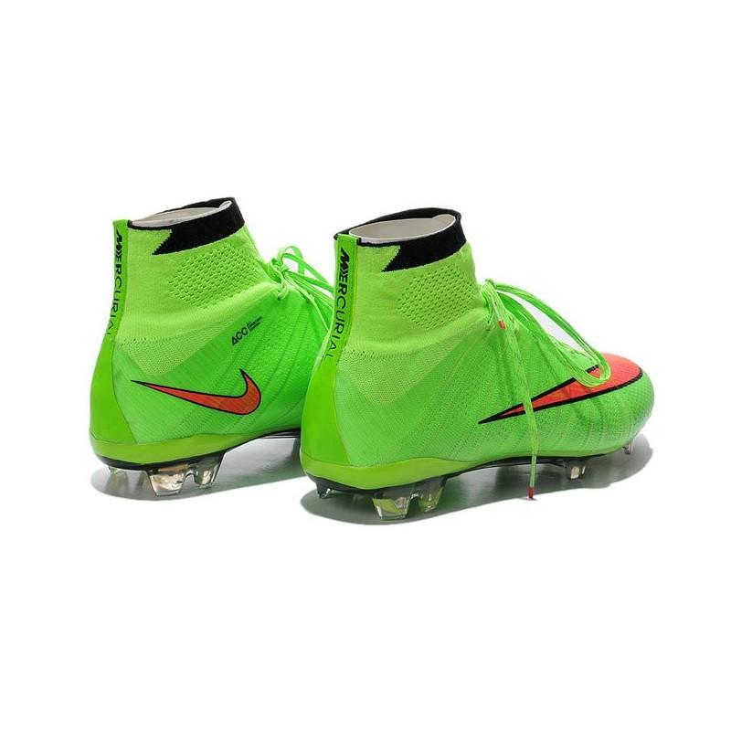 3aaf11852 Crampons de Foot Ronaldo Nike Mercurial Superfly FG ACC Vert Rouge