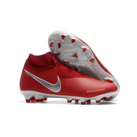 Nike Phantom Vision Elite DF FG Chaussures de Football - Rouge Argent