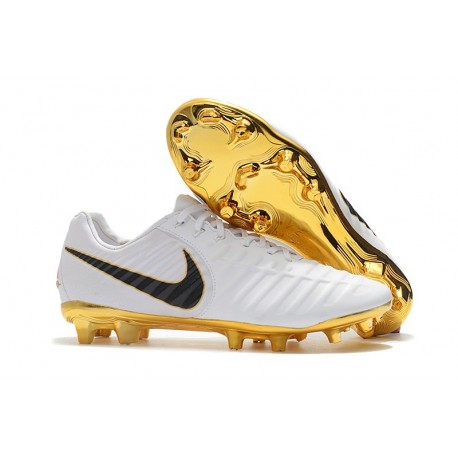 Nike Tiempo Legend 7 FG Crampons de Football Homme - Blanc Or