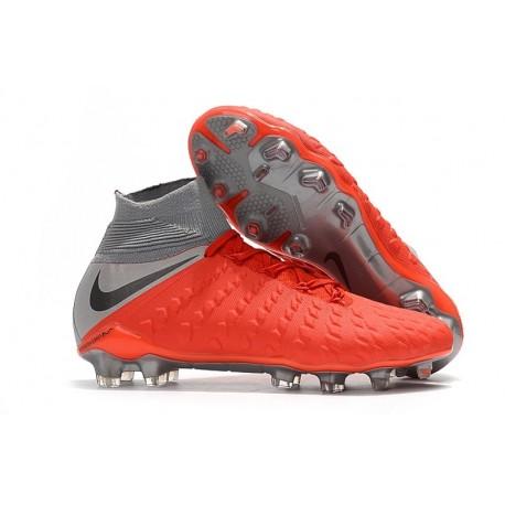 Crampons de Foot Nike HyperVenom Phantom III DF FG - Rouge Argent