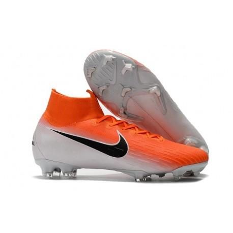 Crampons de Football Nike Mercurial Superfly VI 360 FG - Orange Blanc