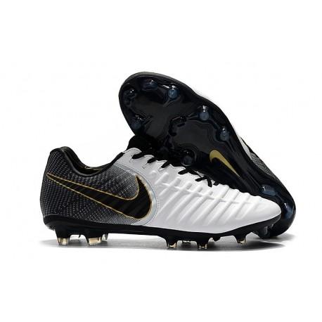Nike Nouveaux Chaussures Tiempo Legend VII Elite FG - Noir Blanc Or