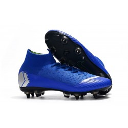 Nike Chaussure Mercurial Superfly VI Elite SG-Pro AC Bleu Argent