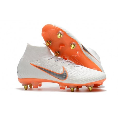 Nike Chaussure Mercurial Superfly VI Elite SG-Pro AC Blanc Orange