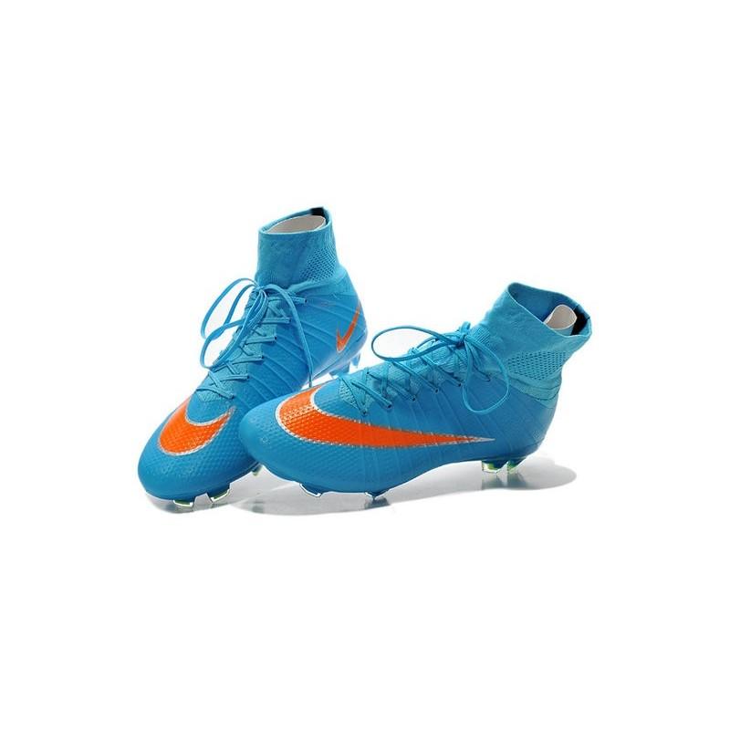 separation shoes 71e05 80acc Crampon de Football Nouveaux Ronaldo Nike Mercurial Superfly FG Bleu Orange  Zoom. Précédent · Suivant