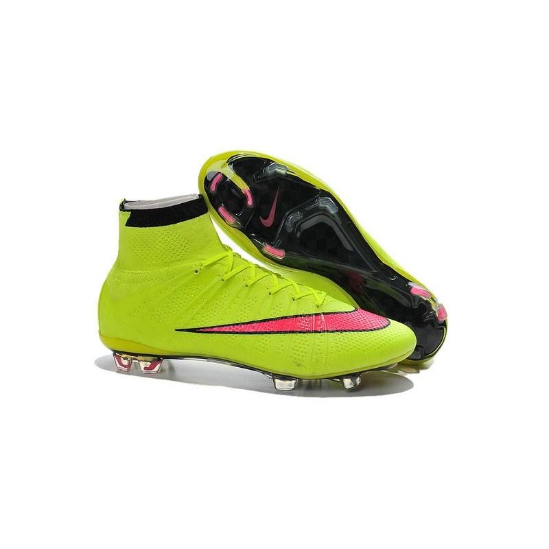 on sale ebfe3 1cda0 Crampon de Football Nouveaux Ronaldo Nike Mercurial Superfly FG Jaune Rose
