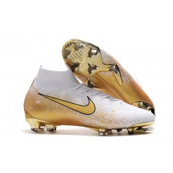 Nike Mercurial Superfly 6 Elite FG Crampons de Foot - Blanc Or