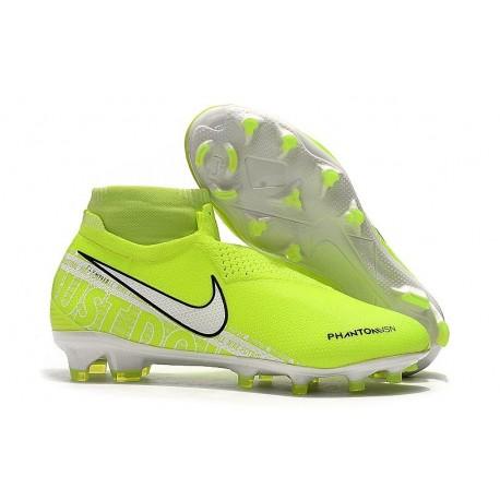 Chaussures de Foot Nike Phantom Vision Elite FG Volt Blanc