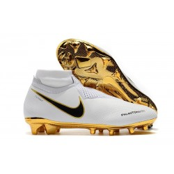 Nike Phantom Vision Elite DF FG Chaussures de Football - Blanc Or