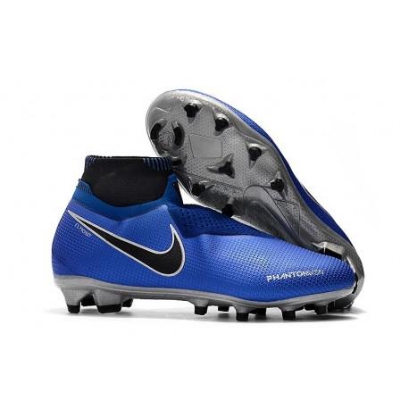 Nike Phantom Vision Elite DF FG Chaussures de Football - Bleu Noir Argent
