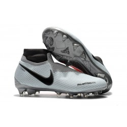 Nike Phantom Vision Elite DF FG Chaussures de Football - Gris Rouge