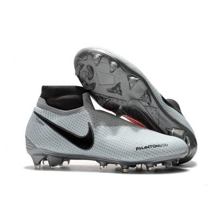 Nike Phantom Vision Elite DF FG Chaussures de Football - Gris Rouge