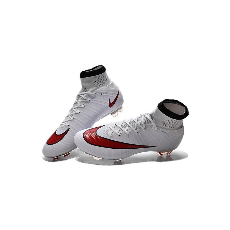 51e20ea35 Nike Nouvel Chaussure Mercurial Superfly CR7 FG ACC Blanc Rouge
