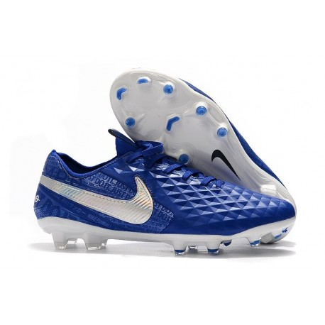 Nike Crampons Nouvelles Tiempo Legend VIII Elite FG Bleu Blanc