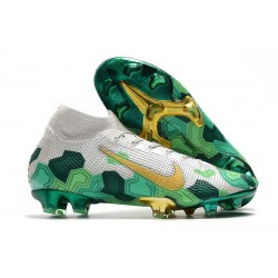 Nike Crampon Mercurial Superfly 7 Elite FG -Mbappe Gris Vert Or