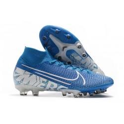 Crampon Nike Mercurial Superfly VII Elite AG-Pro Bleu Blanc