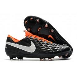 Nike Crampons Nouvelles Tiempo Legend VIII Elite FG Noir Blanc Orange
