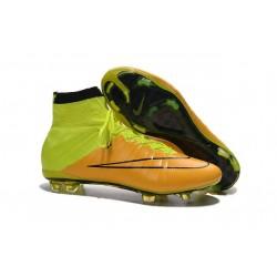 Crampon Chaussure Meilleur Nike Mercurial Superfly 4 FG Cuir Jaune Volt