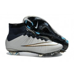 Meilleure Chaussures Nouveau Nike Mercurial Superfly FG Homme Argent Blanc CR7