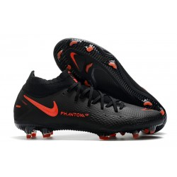 Chaussures Nike Phantom Gt Elite Df Fg Noir Rouge Chili Gris fumee