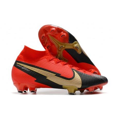Nike Mercurial Superfly VII Elite DF FG Rouge Noir Or