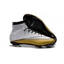 Meilleure Chaussures Nouveau Ronaldo 501 Nike Mercurial Superfly FG Blanc Or