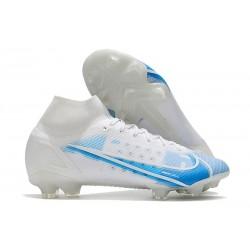 Nike Mercurial Superfly 8 Elite FG Crampons Blanc Bleu