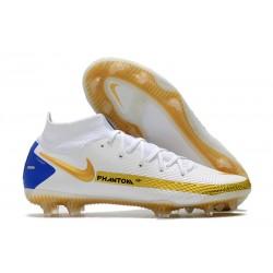 Nouvel Nike Phantom GT Elite DF FG Blanc Or Bleu